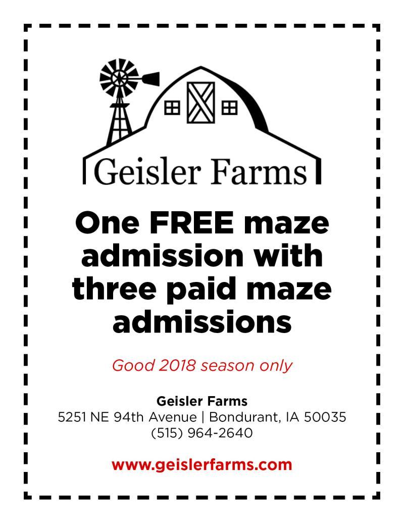 2018 Geisler Farms Coupon