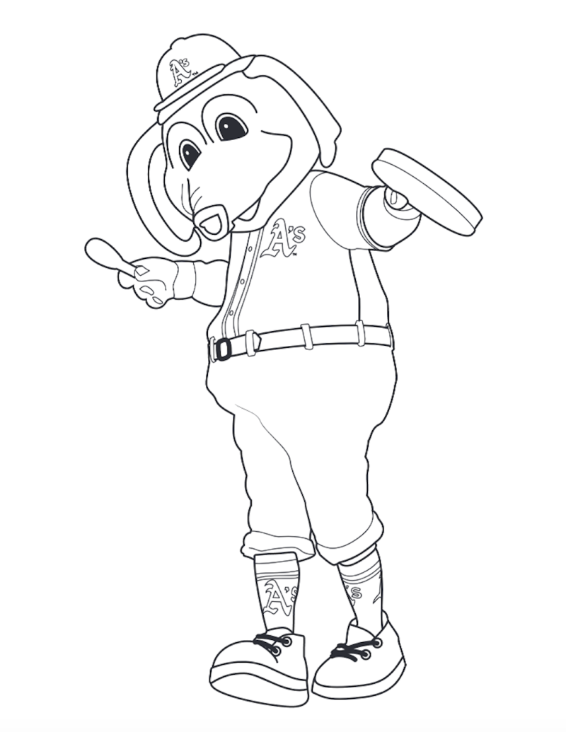 Oakland A's Stomper Outline Graphic coloring page