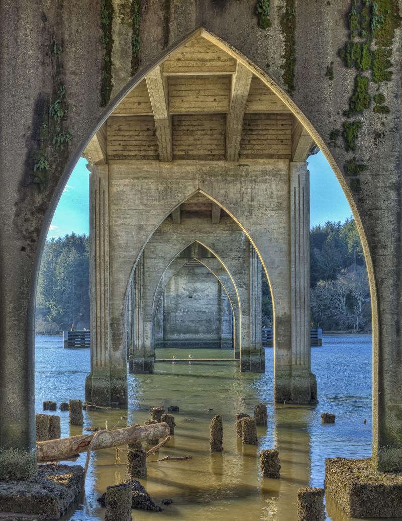 Under Siuslaw River Bridge by Deigh Bates