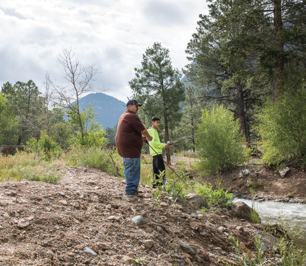Fishermen enjoy the outdoors in Questa