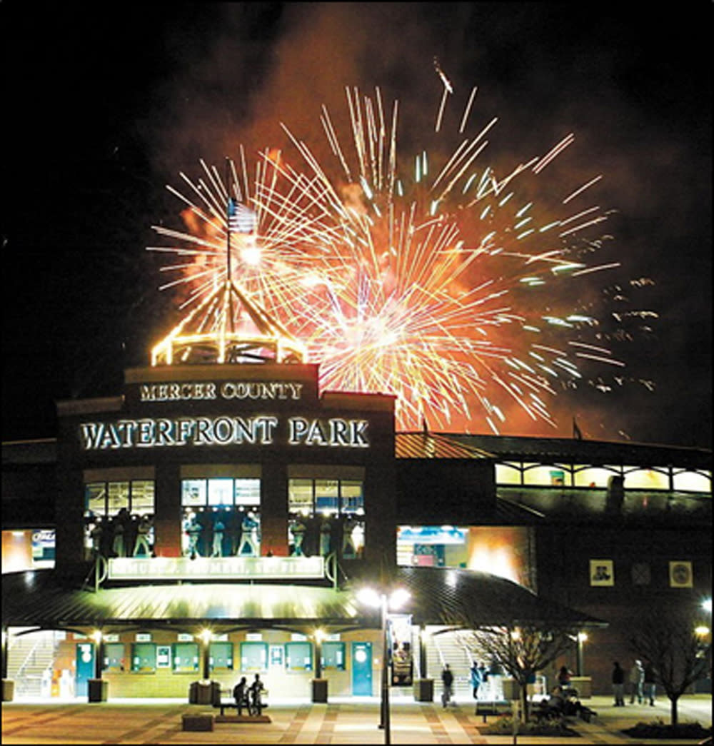 Fireworks going off over Trenton Thunder's stadium, waterfront parl