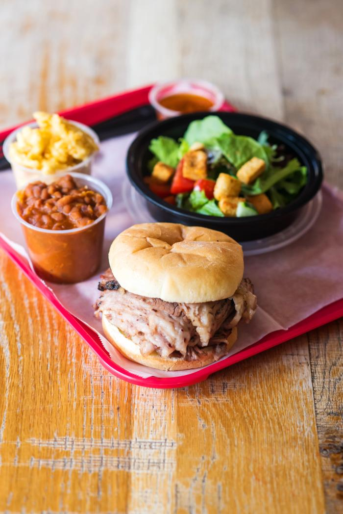 BBQ sandwich with a side salad and beans from Black Hog 17