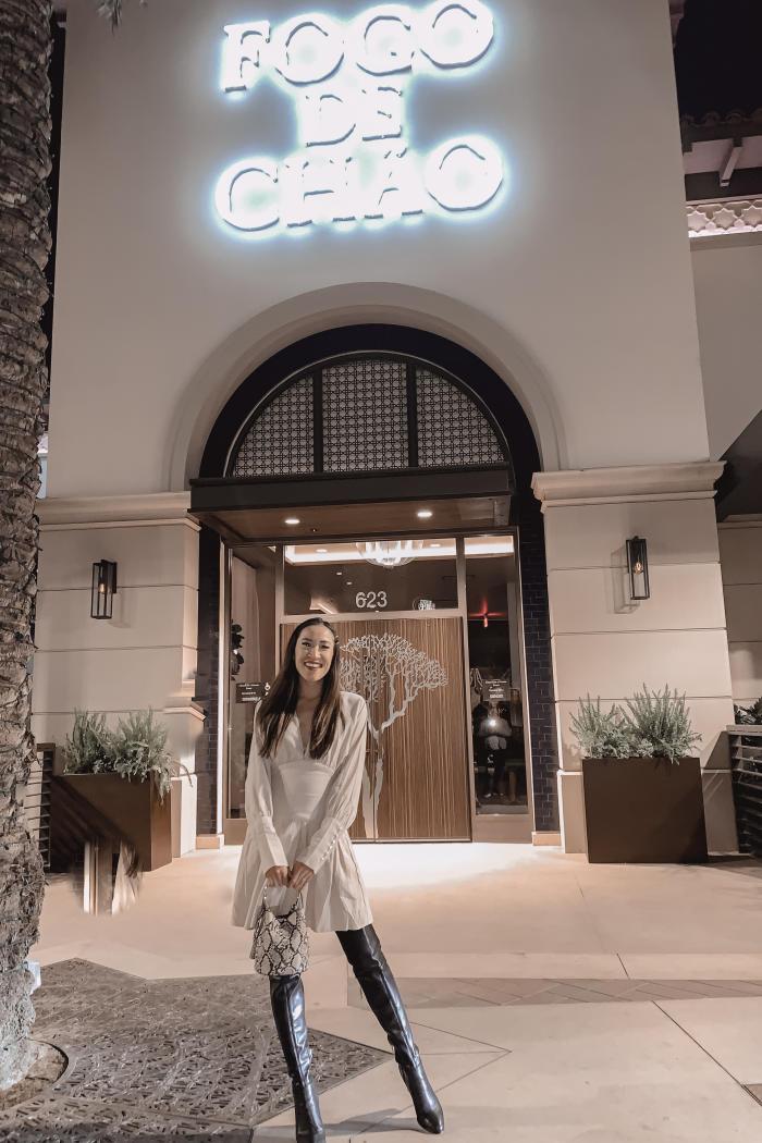 Amanda Standing in front of Fogo de Chao Irvine Spectrum Center