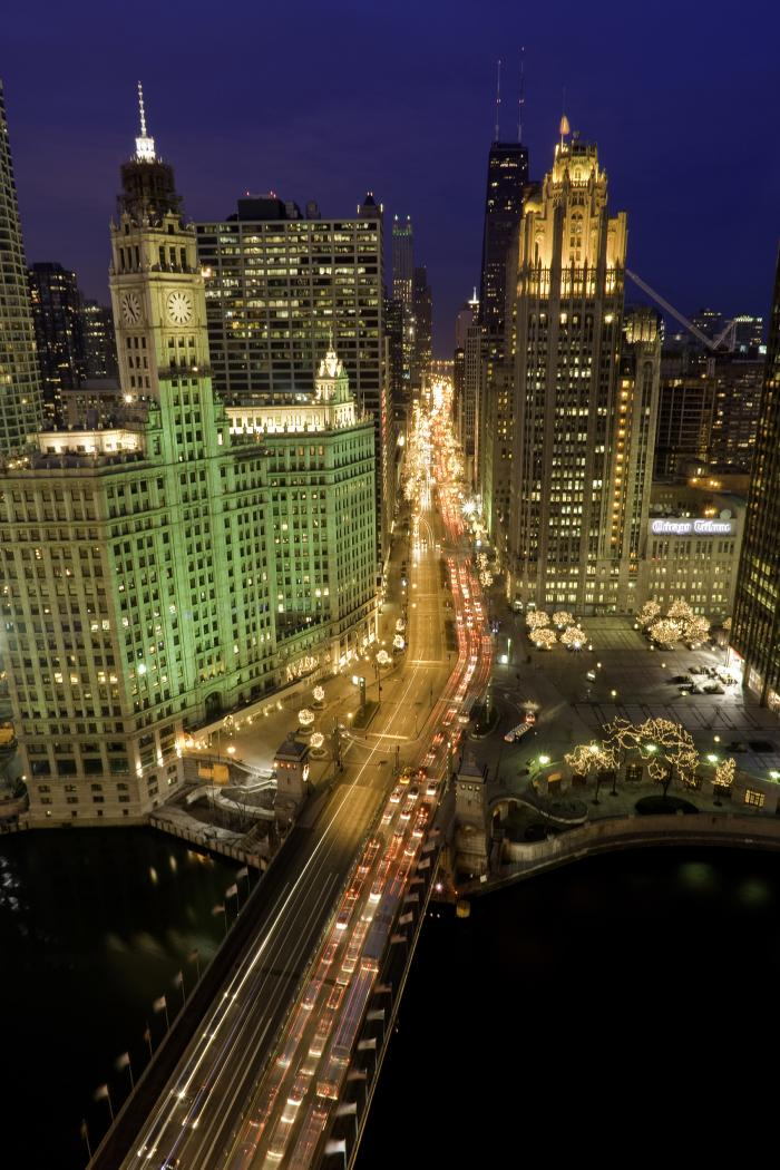Aerial view of the Magnificent Mile in Chicago