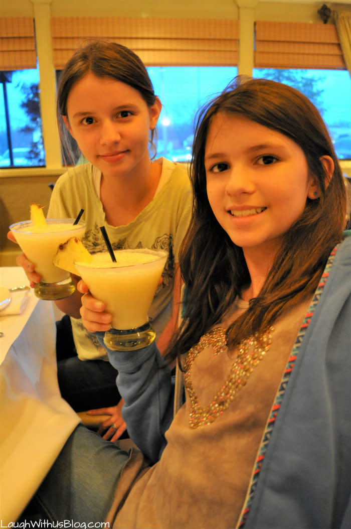 Girls hold fun drinks from Asparagus in Merrillville, Indiana