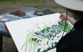 Artist and instructor Audrey Kay Dowling demonstrates drawing spring flowers, a three-part workshop series offered during Chautauqua in June.