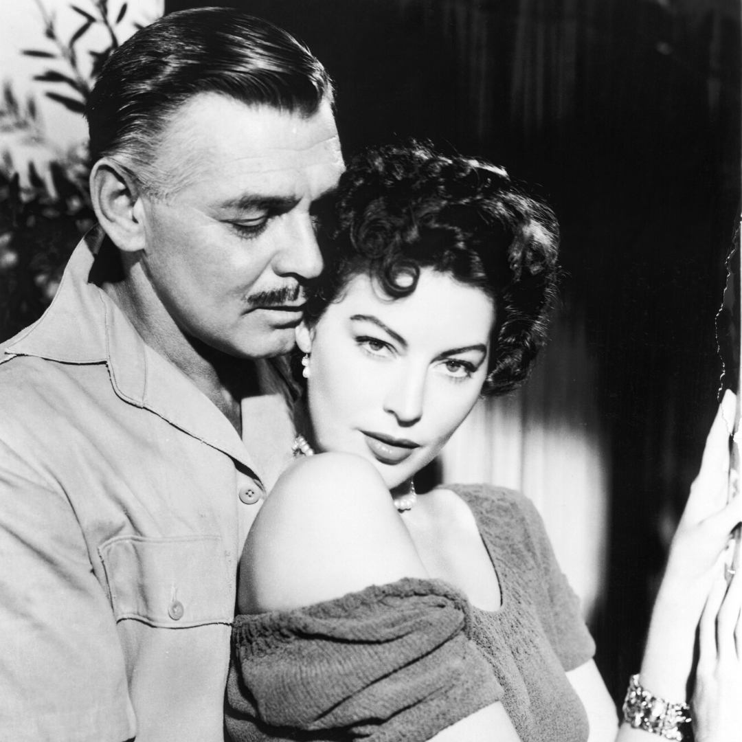 Ava and Clark Gable star in Mogambo, set in Africa.