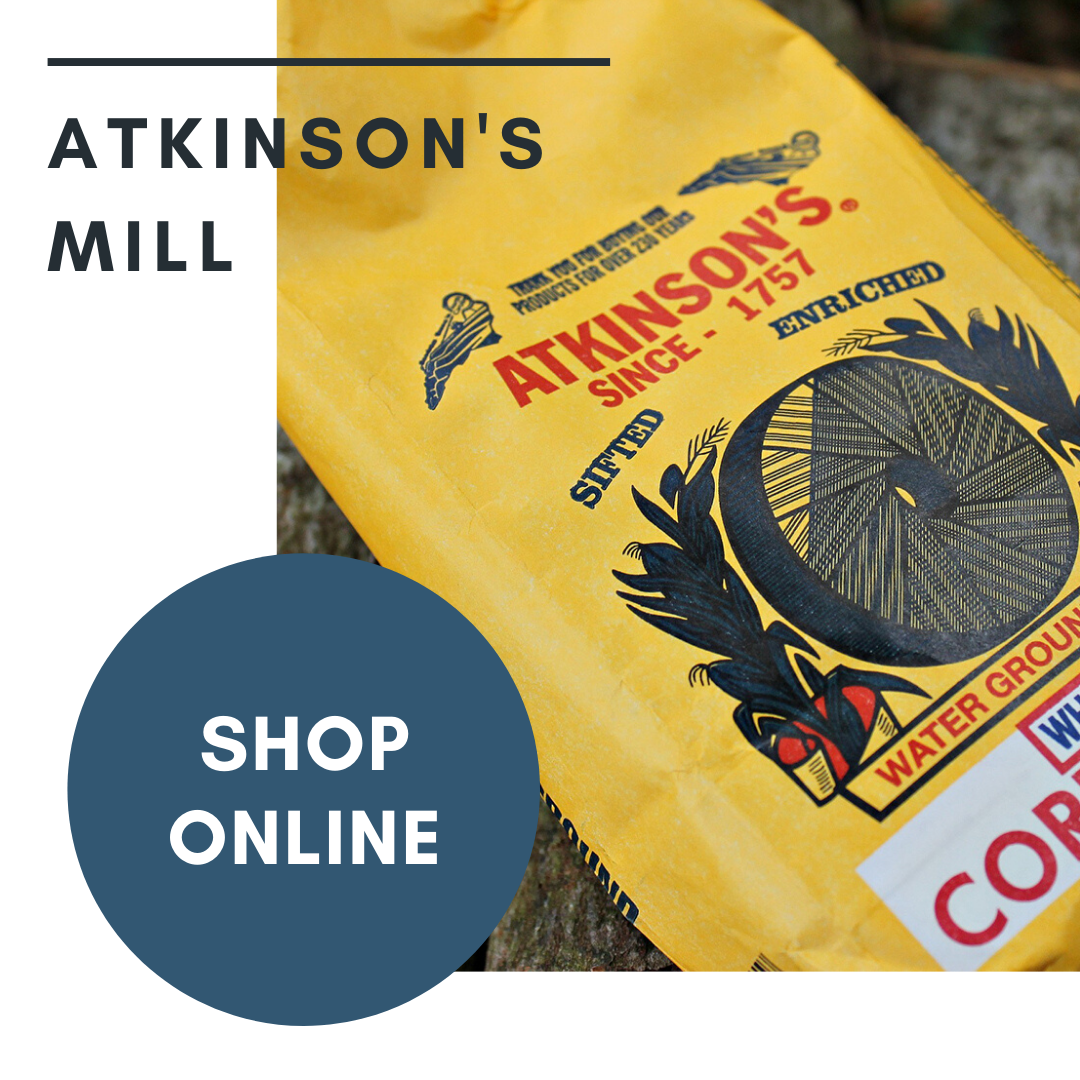 Aktinson Mill Banner Ad promoting shopping online for cornmeal products, Selma, NC.