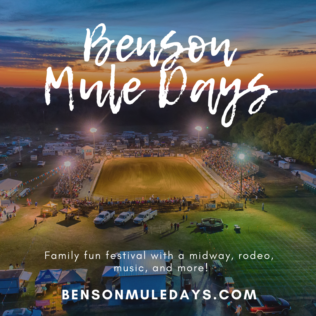 Benson Mule Days banner ad promoting the family, fun, music and more in Benson, NC.