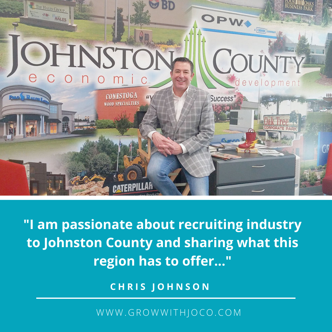 Johnston County Economic Development banner ad for Chris Johnson, and bringing industry to Johnston County, NC.