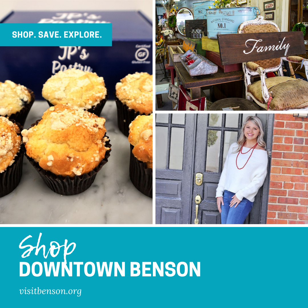 Shop Downtown Benson promoting the stores as a great place to visit in Benson, NC.