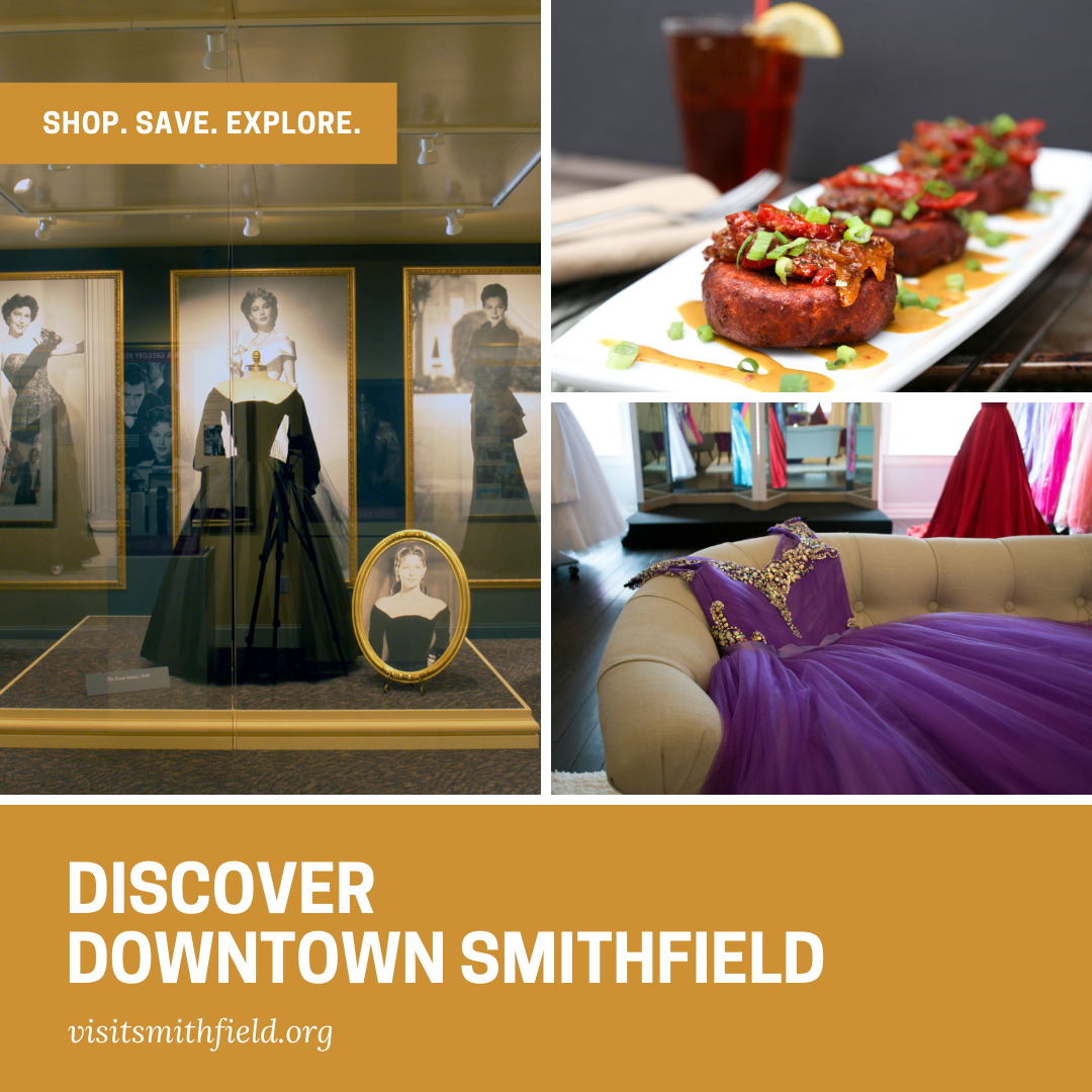 Discover Downtown Smithfield banner ad promoting visiting for museums, dining and shopping in Smithfield, NC.