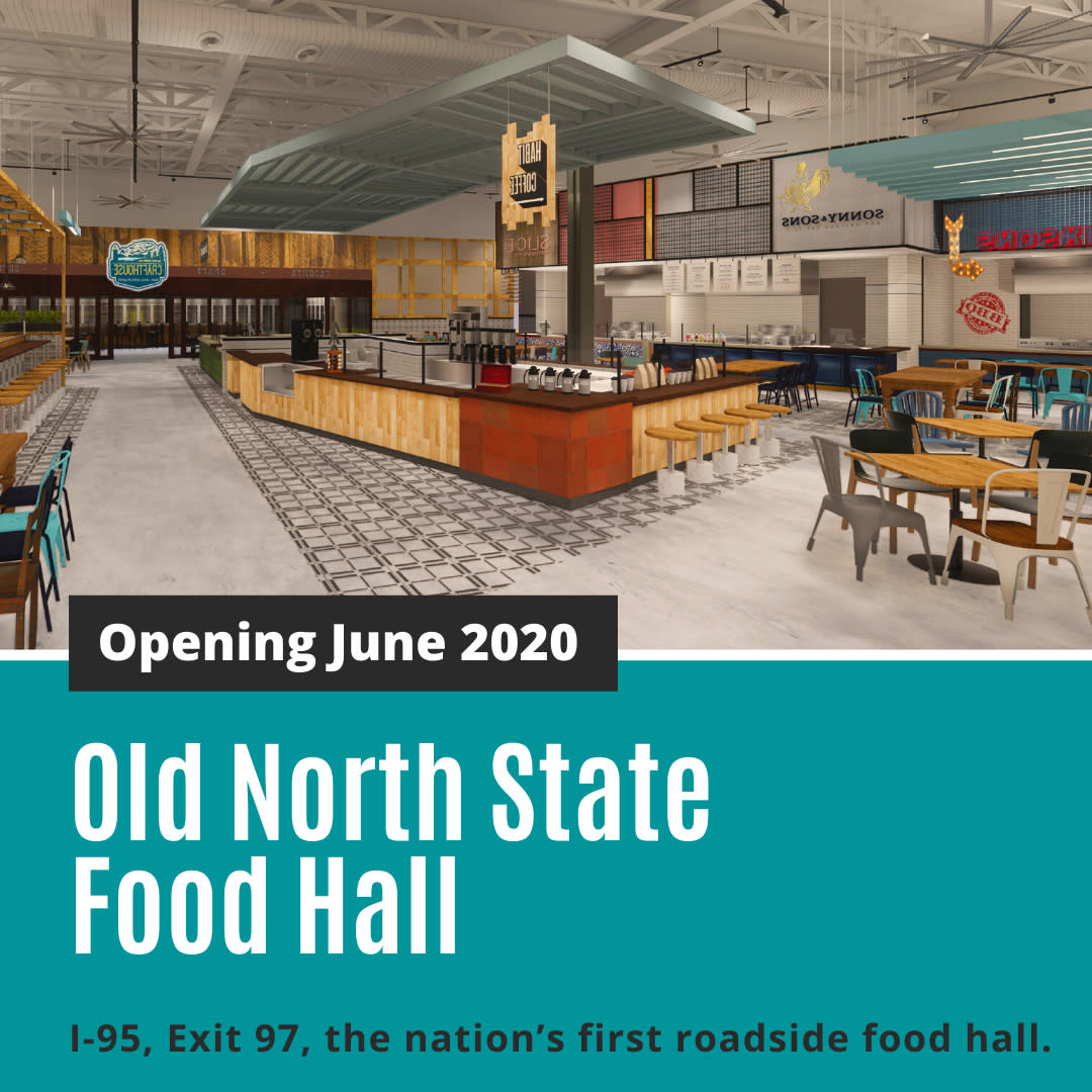 Old North State Food Hall opening in June 2020 in Selma, NC, I-95, Exit 97.
