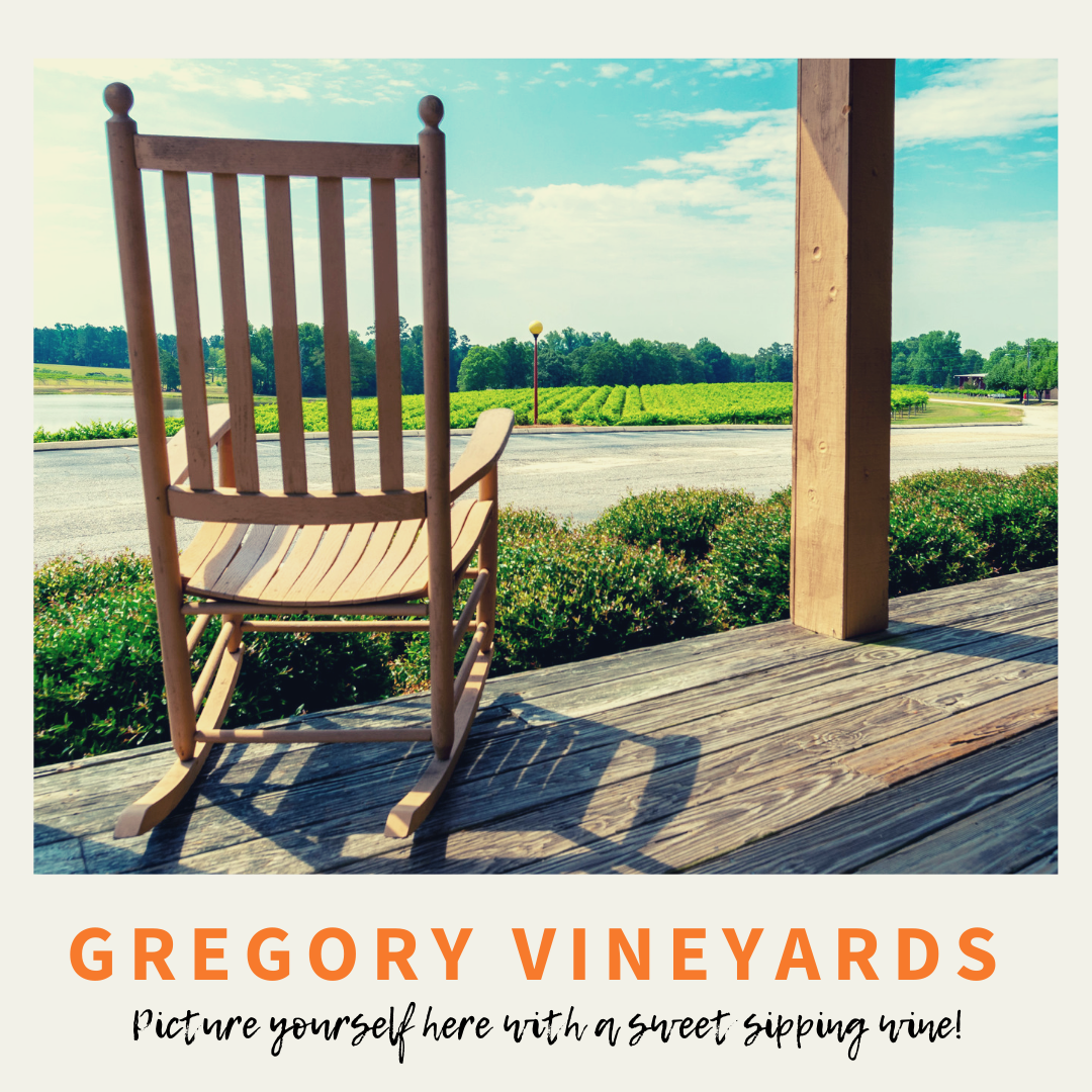 Gregory Vineyards and Winery banner ad promoting the peaceful front porch as a great place to visit in Johnston County, NC.