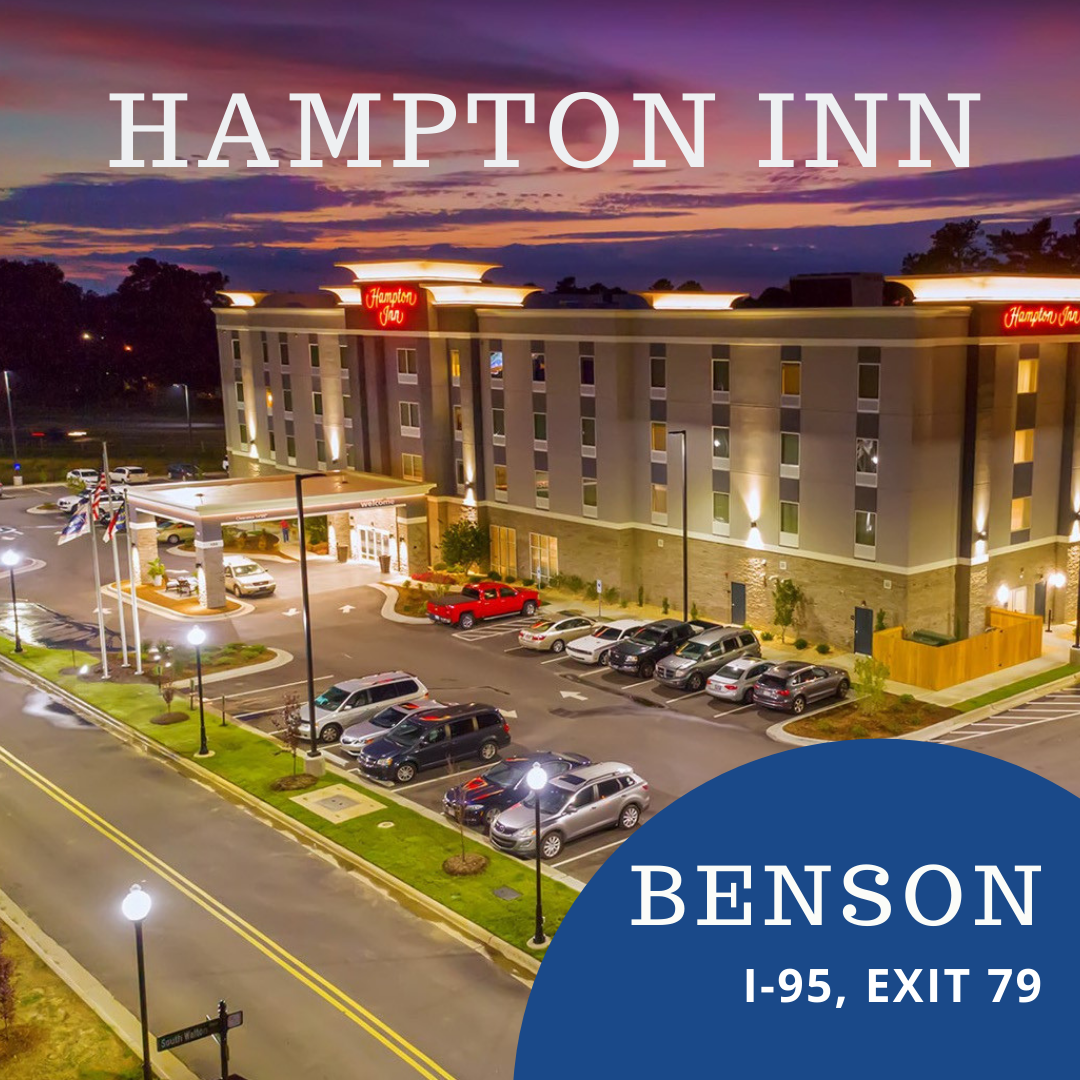 Hampton Inn Benson is dog-friendly in one of the prettiest towns in NC - visit Benson, I-95, exit 79.
