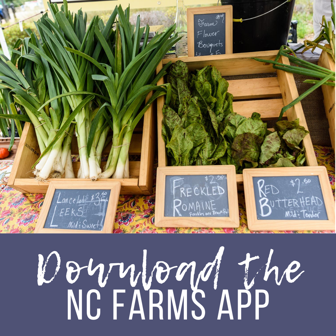 Download the NC Farms App banner ad promoting farms, events, and local products in Johnston County, NC.