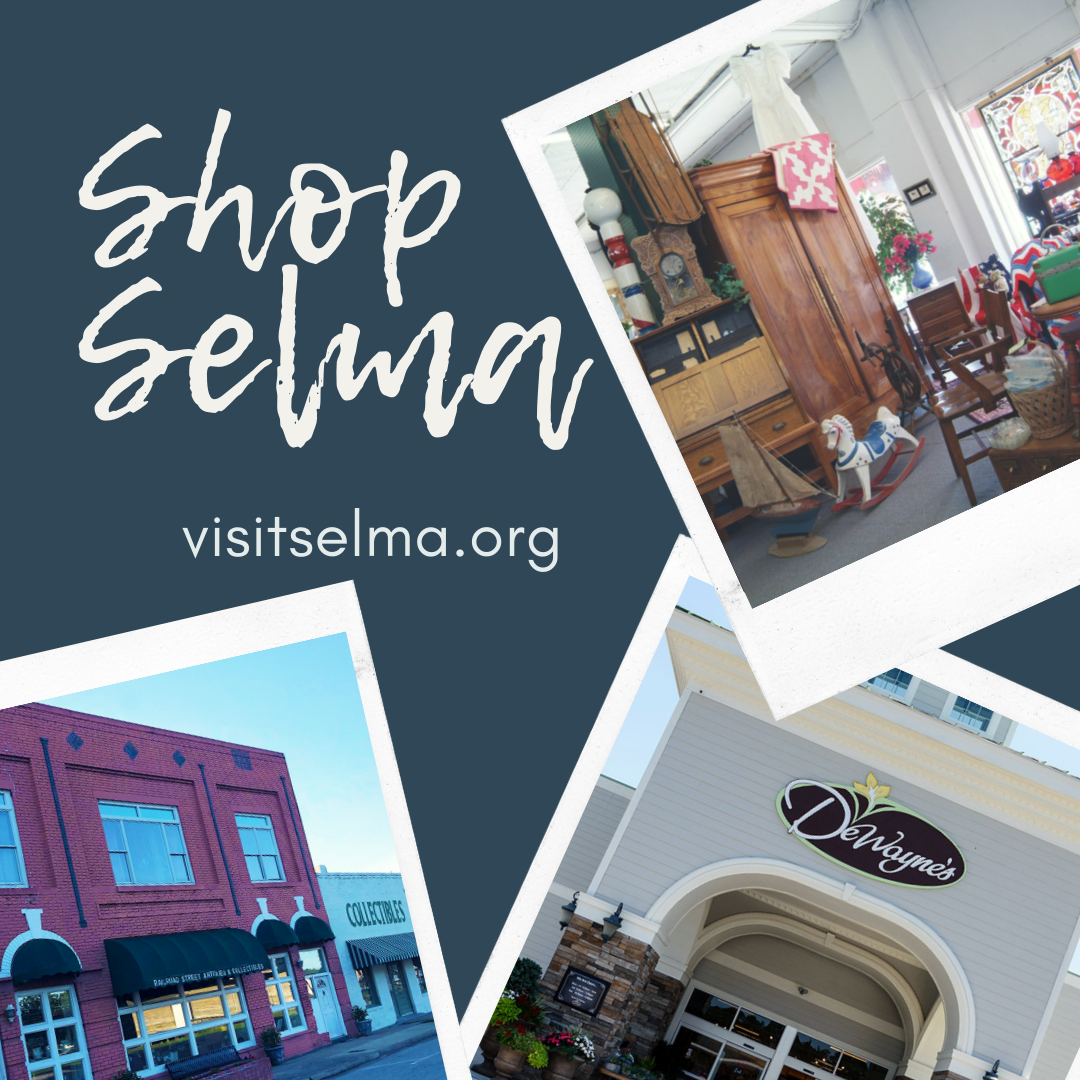 Shop Selma banner ad promoting Selma's antique shopping and DeWaynes, Selma, NC.