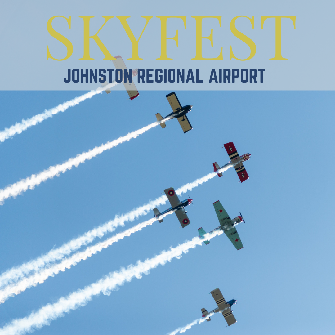 Skyfest Show event banner ad promoting the event at the Johnston Regional Airport, Smithfield, NC.