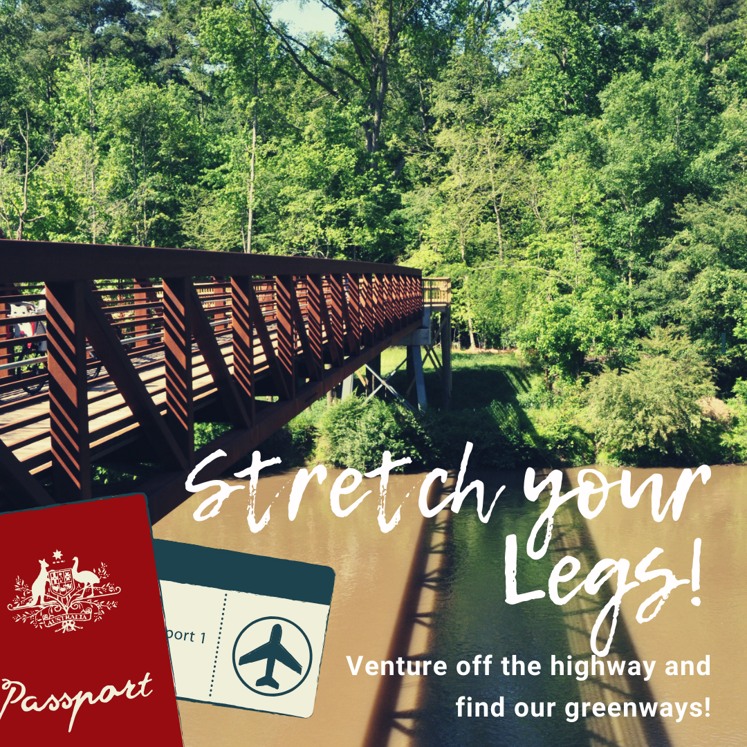 Stretch your legs banner ad promoting our greenways in Johnston County, NC.