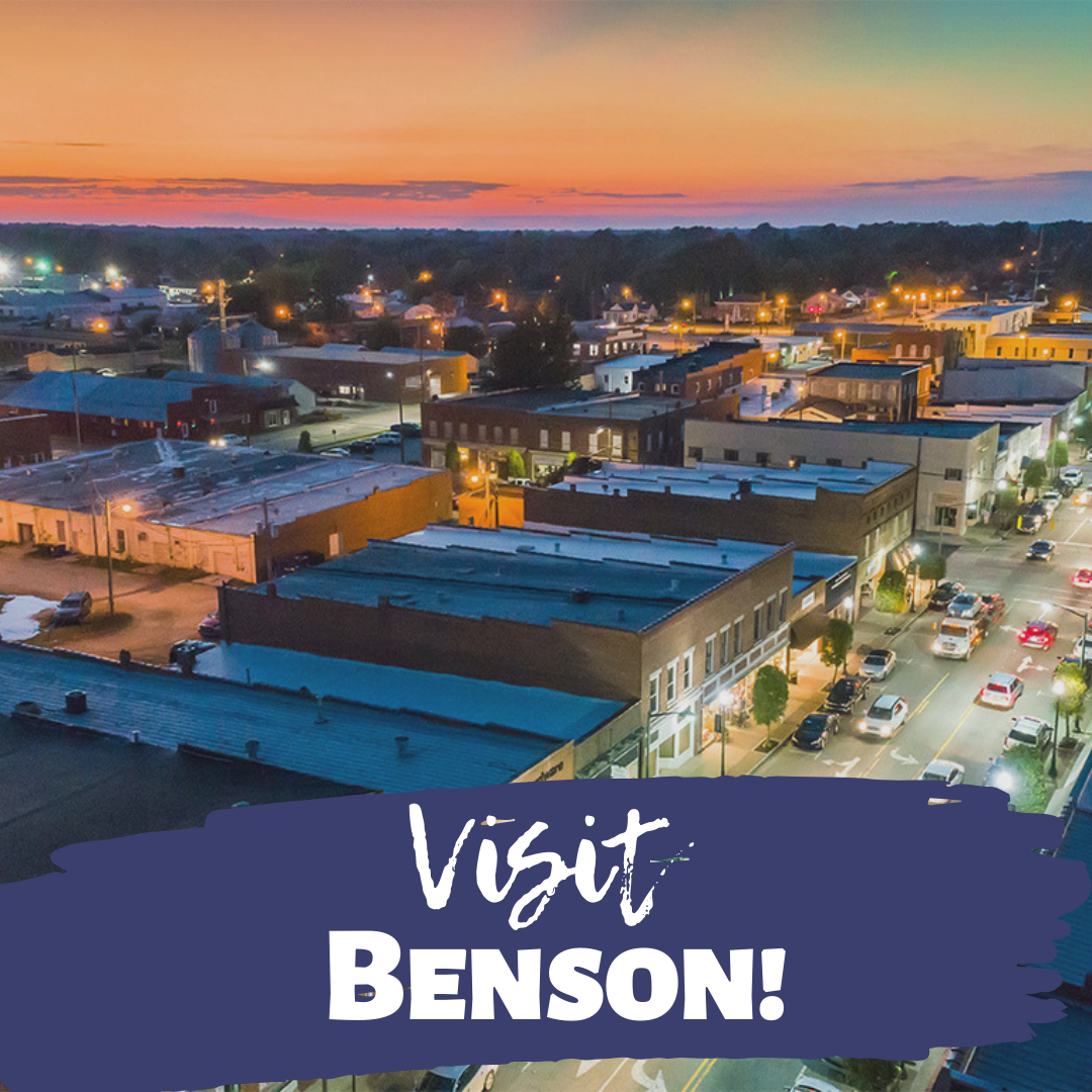 Visit Benson banner ad promoting the small town charm and skyline of Benson, NC.