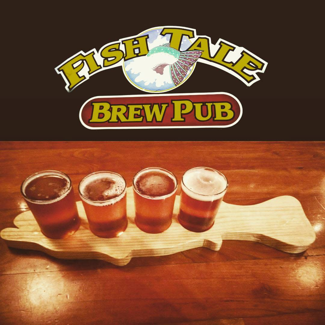 Fish Tale Brew Pub logo and beer flight