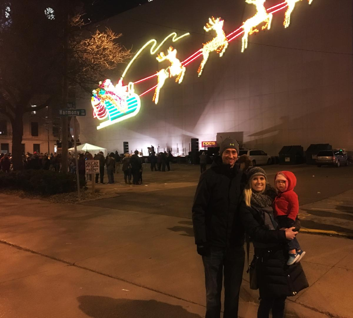 family at holiday festival downtown fort wayne