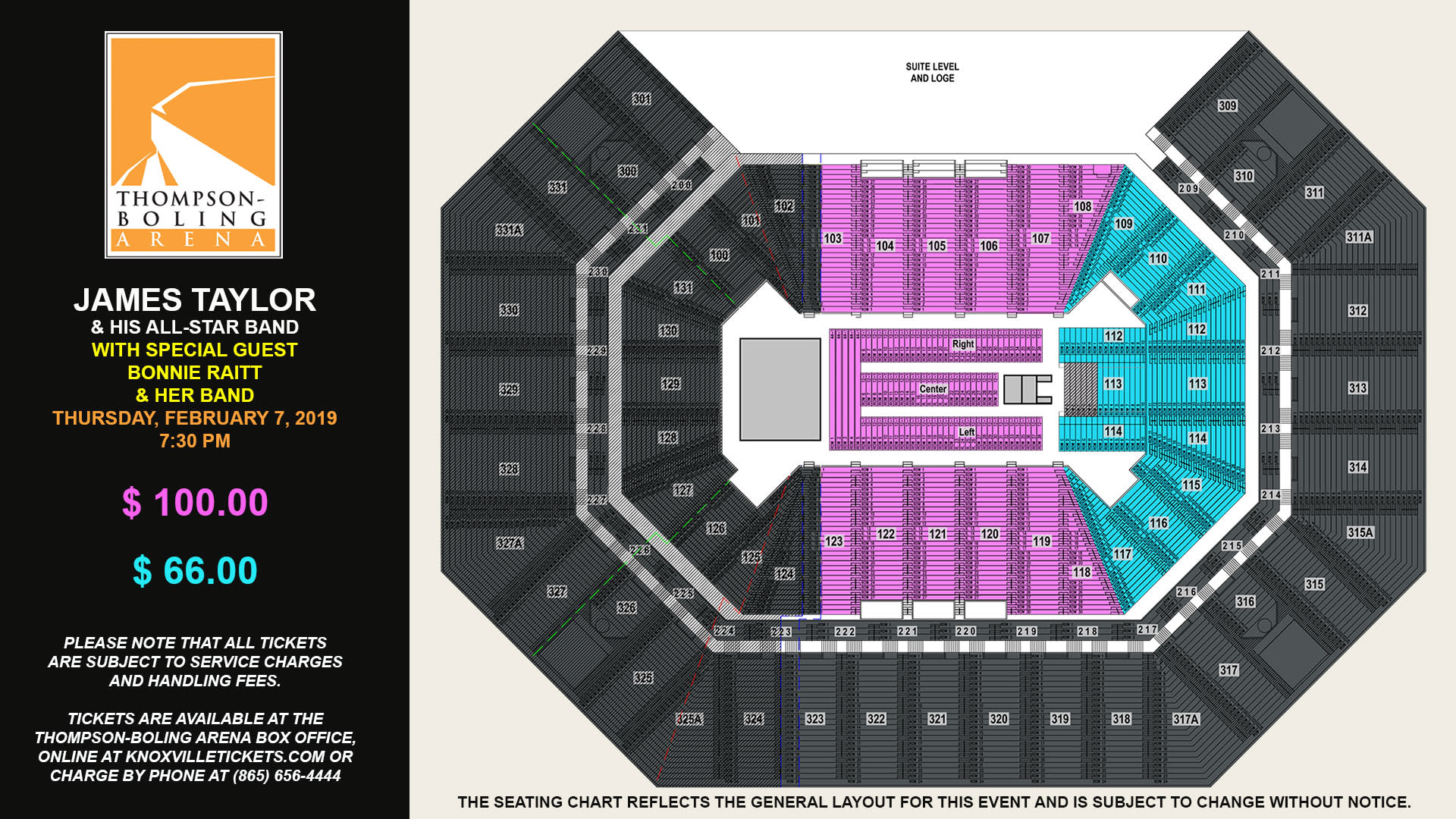 James Taylor 2019 Seating Map