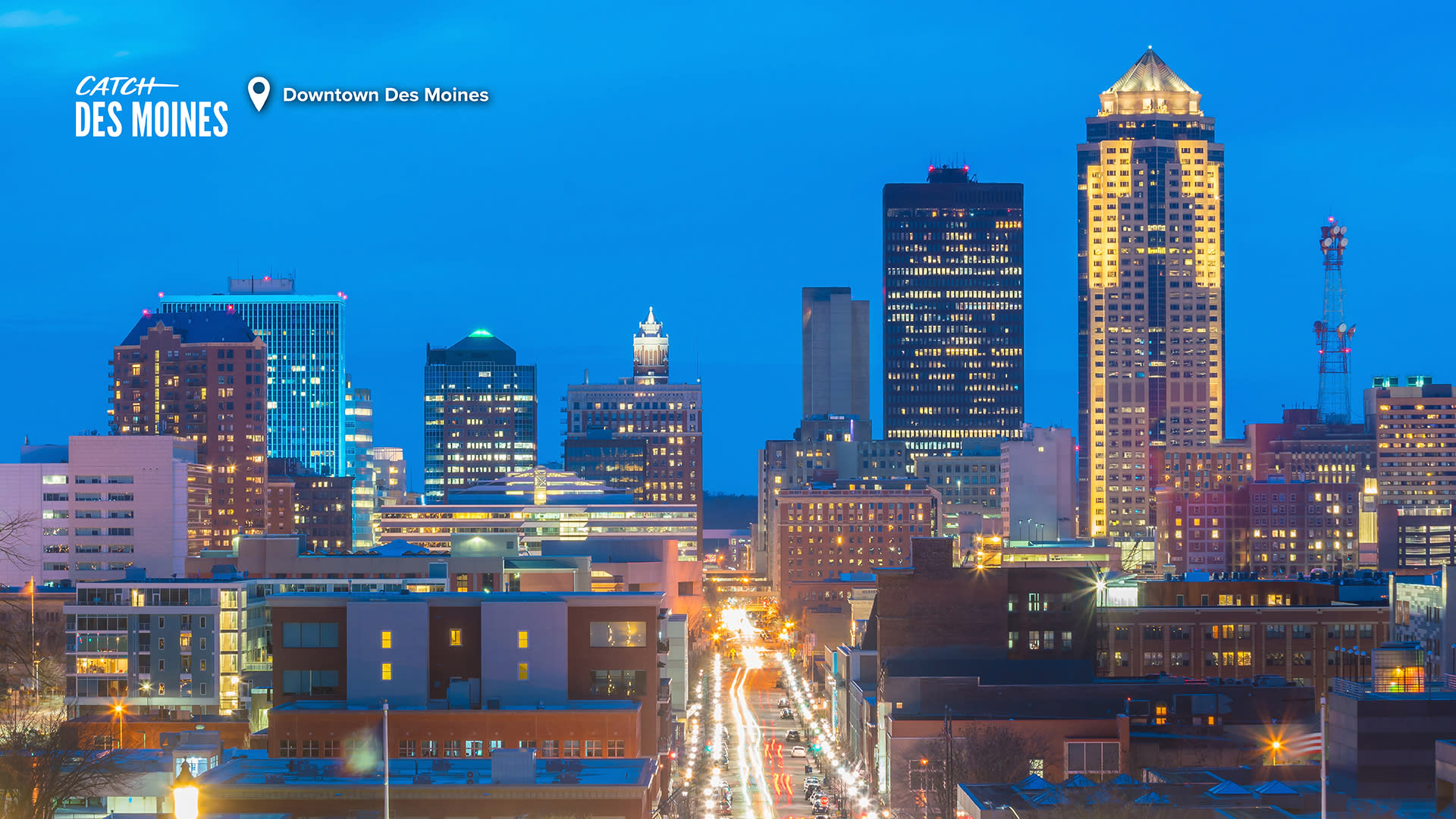Catch Des Moines - Downtown Des Moines Zoom Background