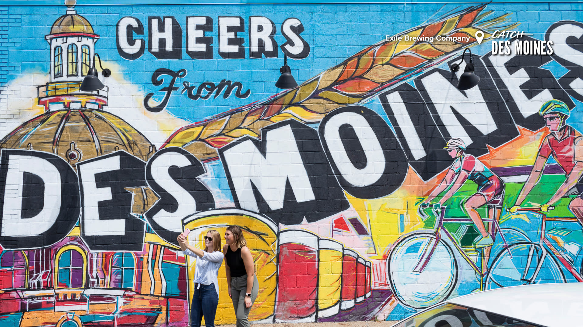 Cheers from Des Moines Wall Mural at Exile Brewing Company Zoom Background