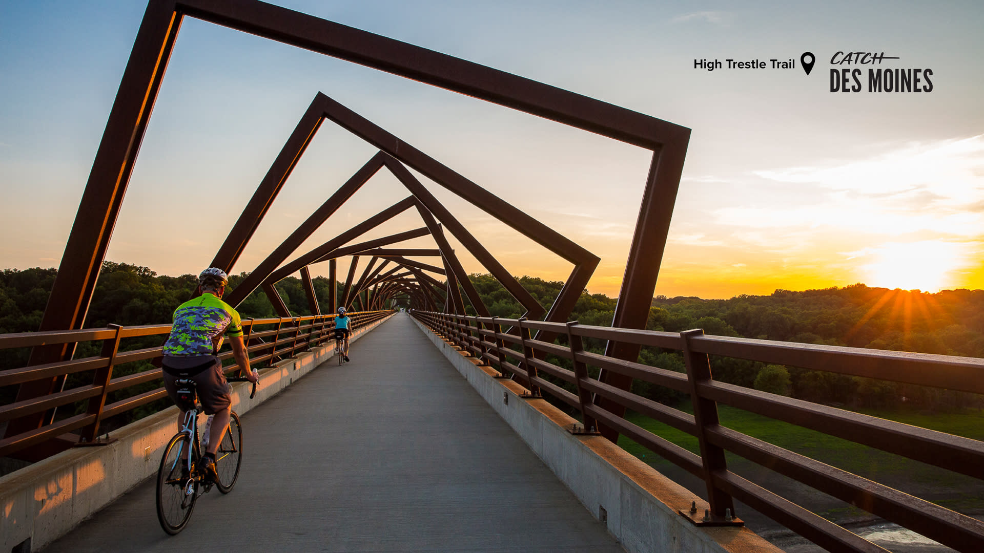 Bikers on the High Trestle Trail Zoom Background