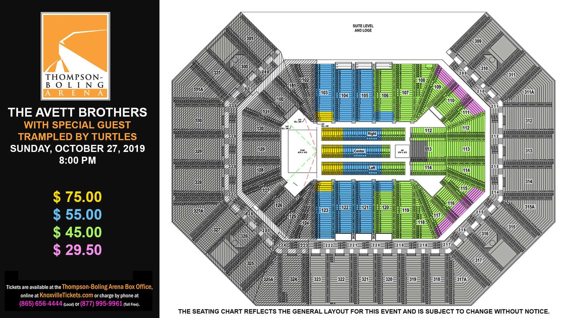 Avett Brothers Seat Map