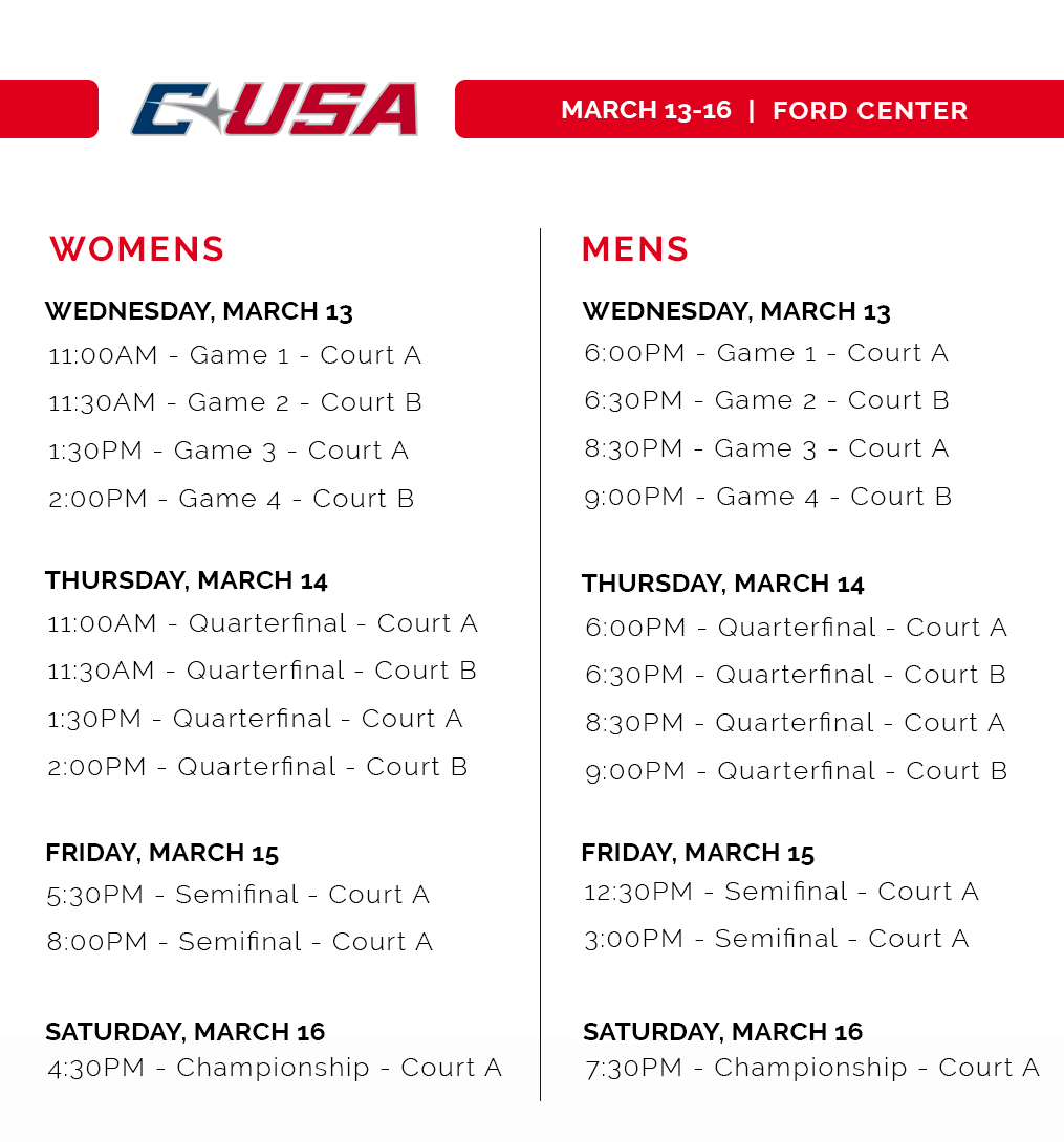 CUSA 2019 Tournament Schedule