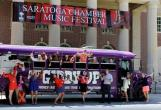 The Giddy Up! bus receiving a warm welcome from the staff of Saratoga Performing Arts Center at the
