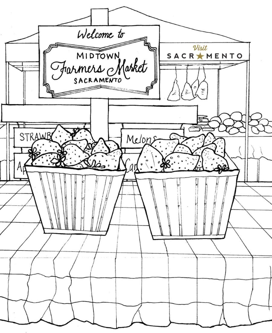 Midtown Farmers Market Coloring Page