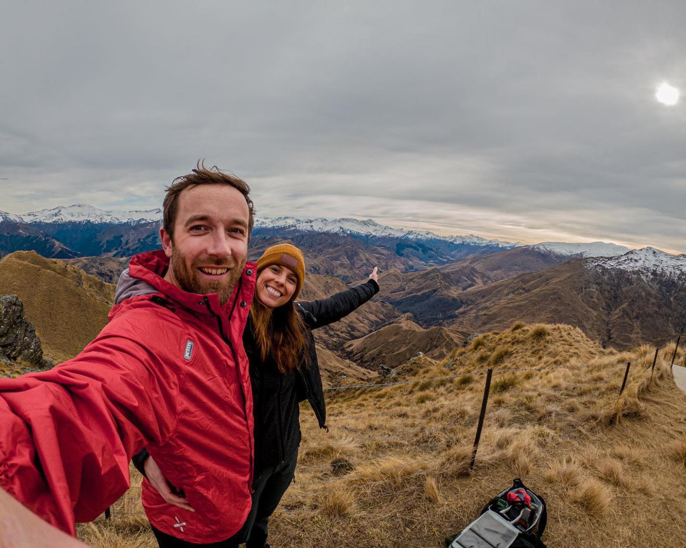 Couple Hiking Mt Dewar in Spring