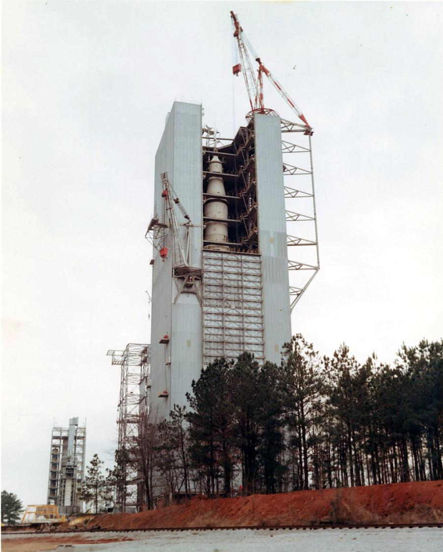 A NASA Test Stand is on display in Huntsville, AL.