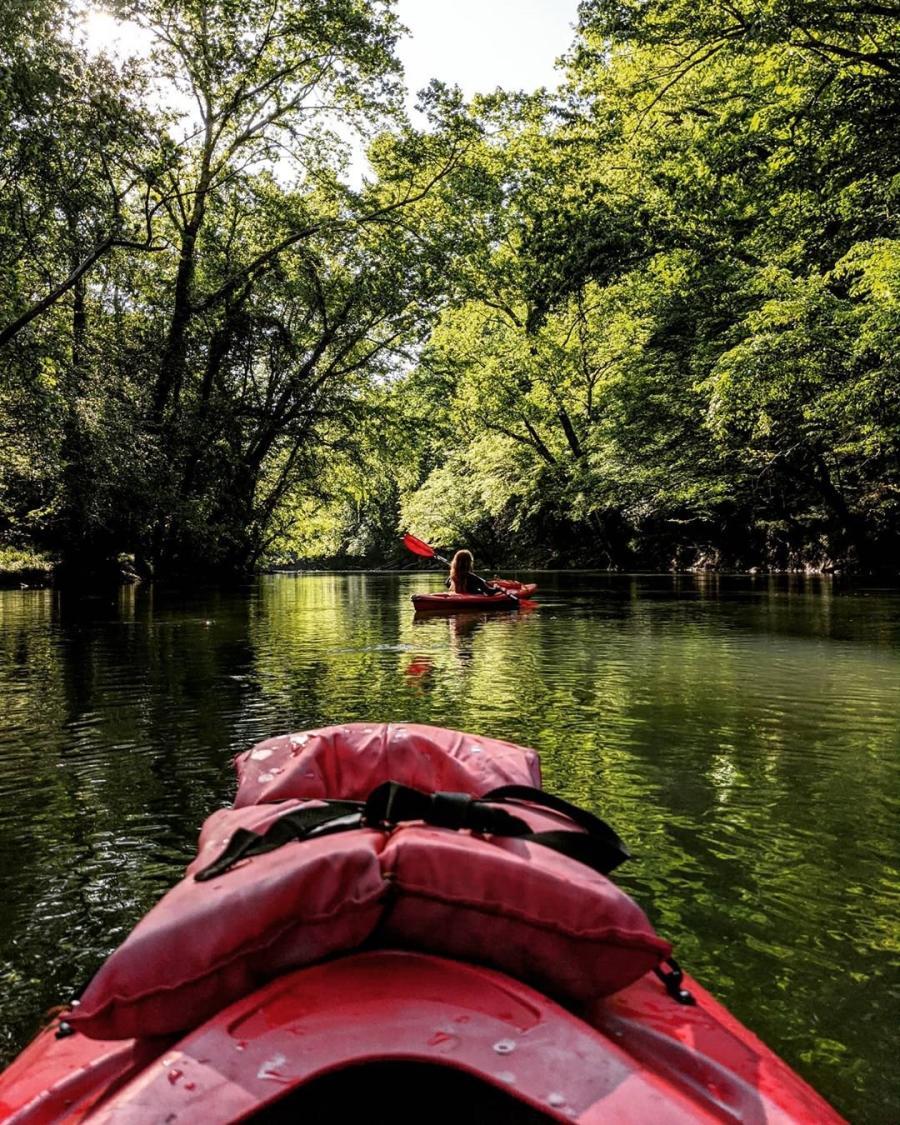 Visitors enjoy a relaxing kayak trip down the Flint River.