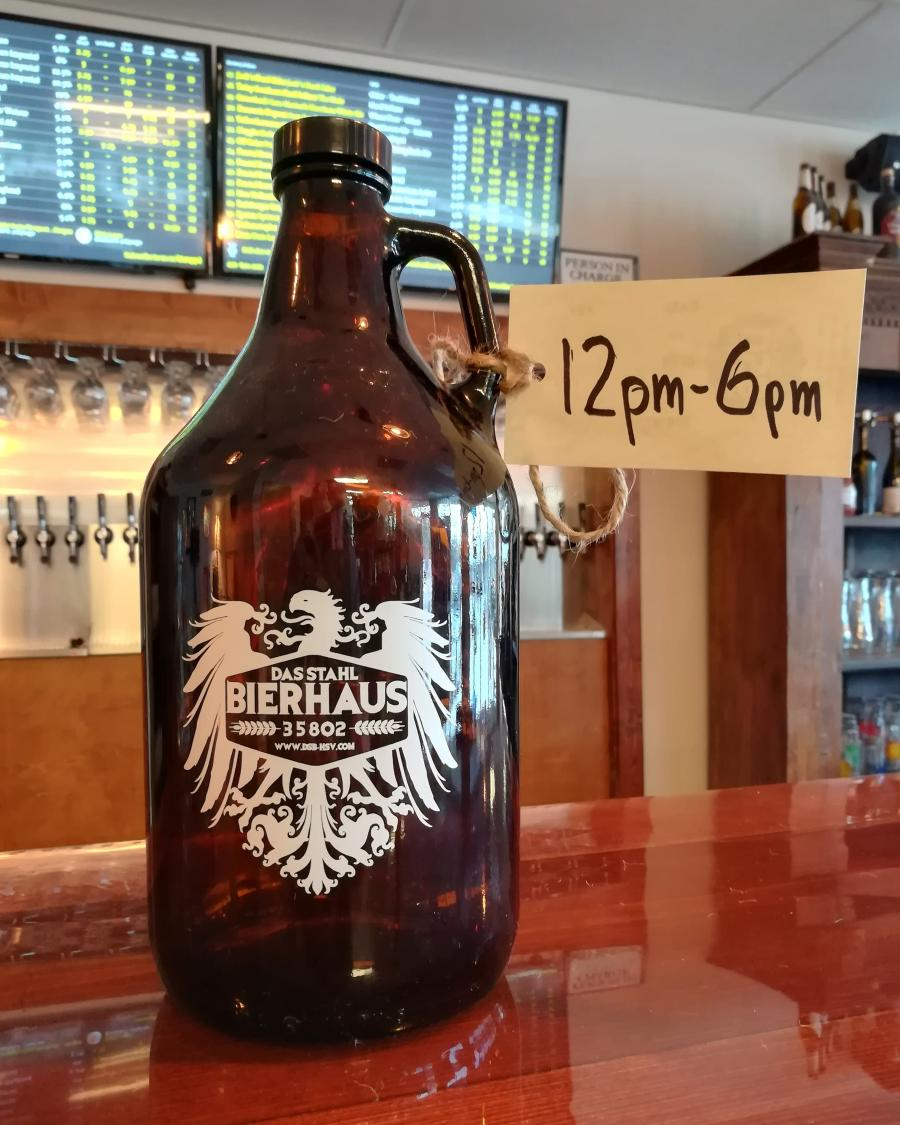 Growler at Das Stahl Beerhouse in Huntsville