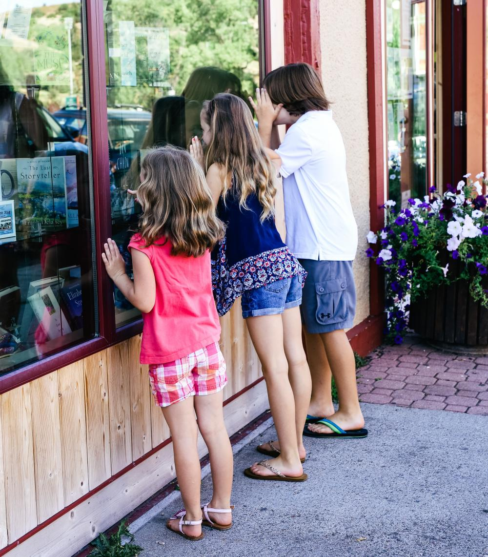 Kids doing some window shopping in downtown Steamboat