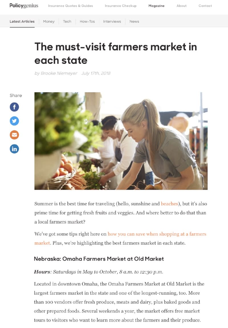 Farmers Markets - Policy Genius