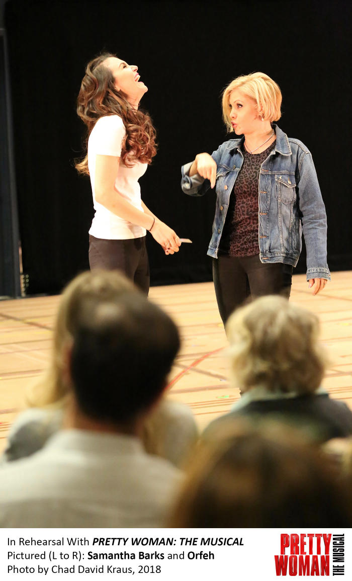 Samantha Barks and Orfeh in rehearsal for Pretty Woman, photo by Chad David Kraus