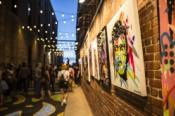 Artwork lines the streets of Gallery Alley located in Wichita, Kansas