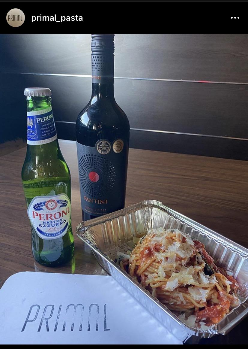 Pasta and wine to go from Primal in Saskatoon, SK