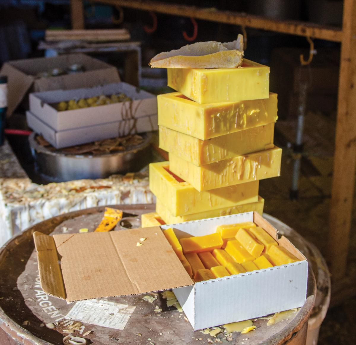 The Hays Farm produces beeswax and other bee products.