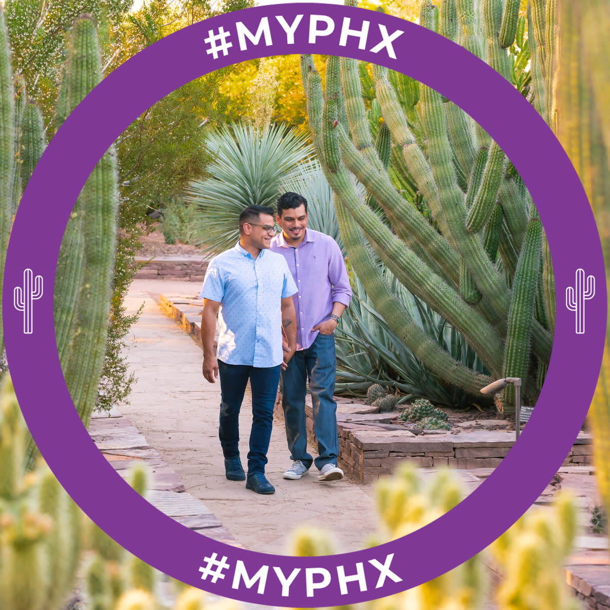 A Facebook frame with a purple circle with a cactus and #myphx