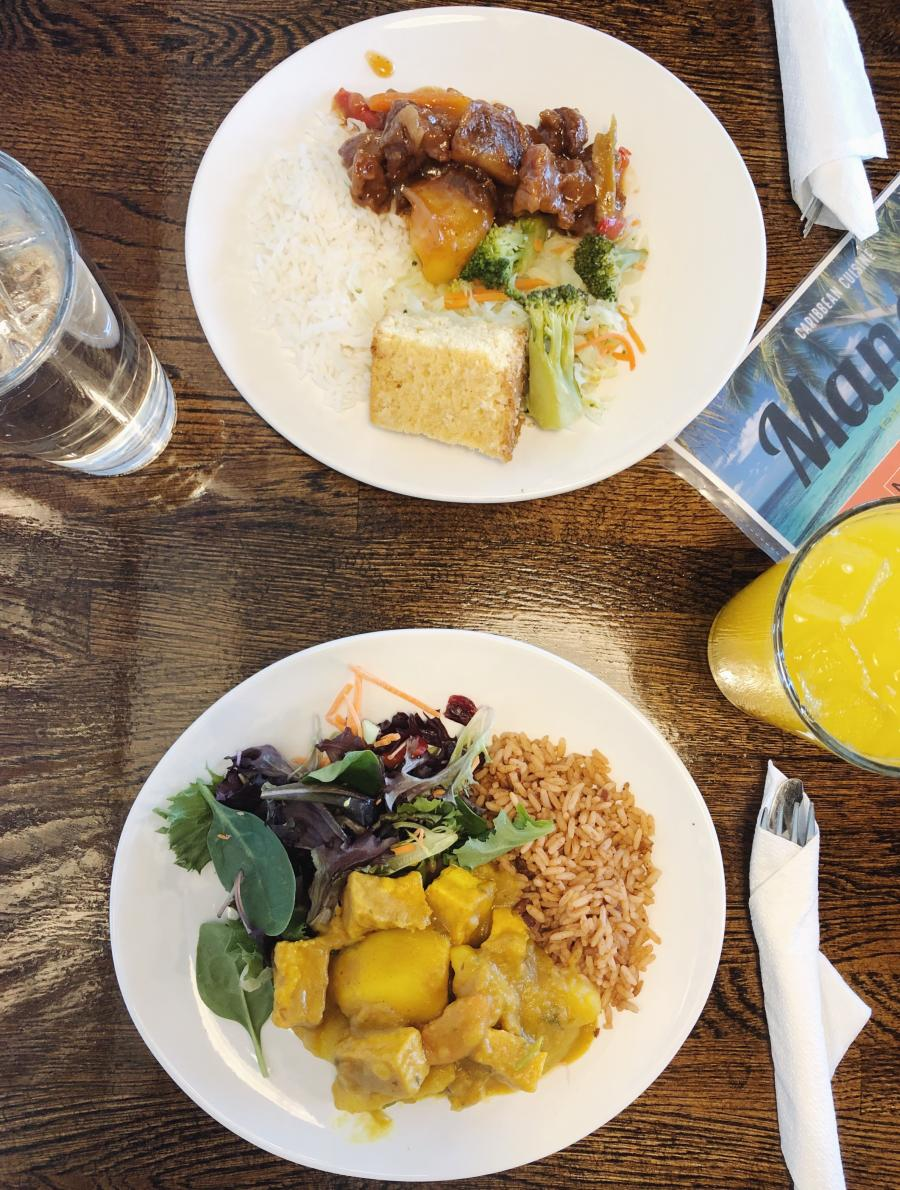 Mangos Caribbean Restaurant serves up inspired Caribbean dishes like vegan curry and stewed meats.