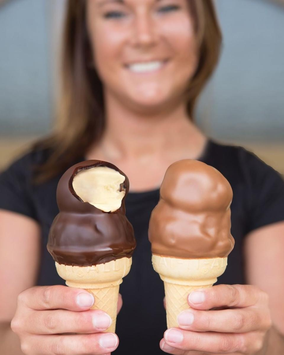 Two ice cream cones at DeBrand Fine Chocolate
