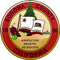 Seal of Sonoma County, a circle with the word Sonoma County, California on it and Agriculture, Industry and Recreation inside the circle
