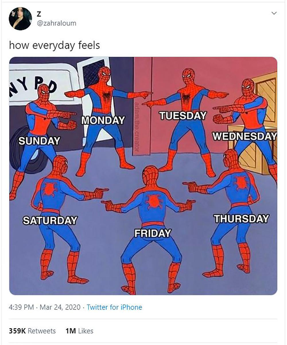 Spiderman pointing, all the days look the same