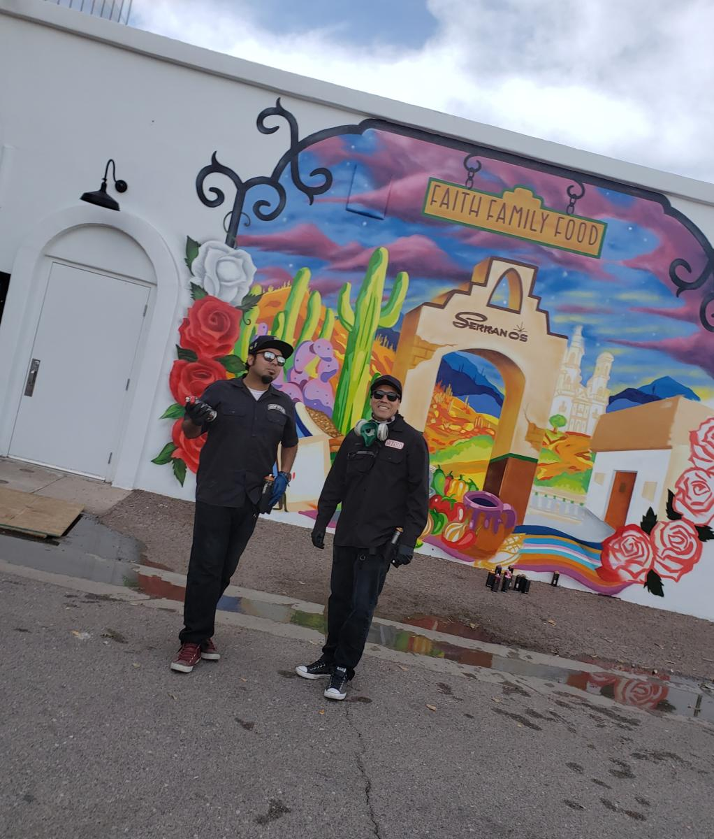 "Serrano's Mural Artisits: Noe ""Such Styles"" Baez and his son Champ"